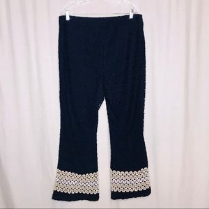 Cato Navy Blue Crochet Lace Boho Pants 18W 20W